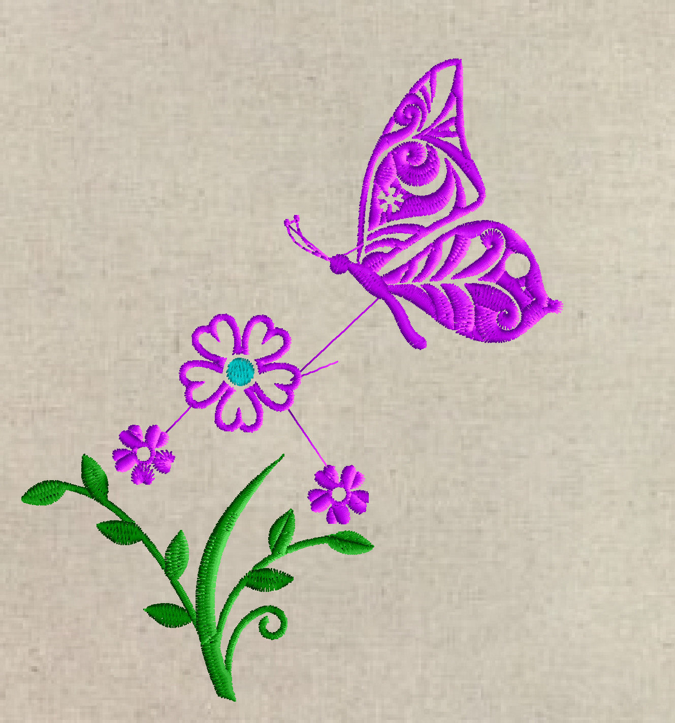 Butterfly Flowers Design - 2 sizes - Great Bundle -Parts & Together - EMBROIDERY DESIGN FILE - Instant download - Dst Hus Jef Pes Exp format