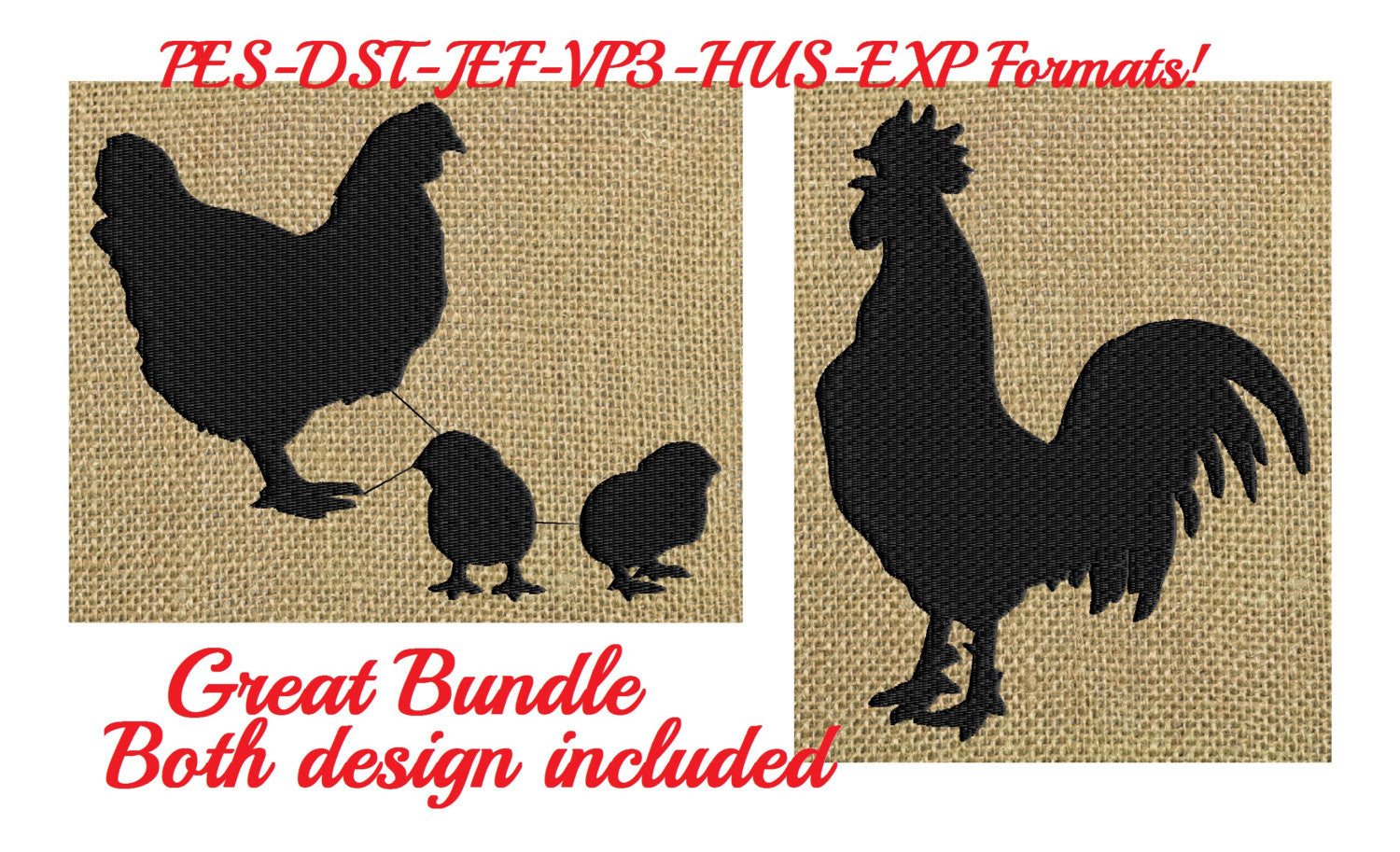 Hen Rooster & baby chicks Silhouette - Embroidery Design Embroidery DESIGN FILE bundle - animals