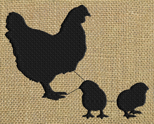 Hen & Chicks Silhouette - Embroidery Design Embroidery DESIGN FILE - Instant download - animals