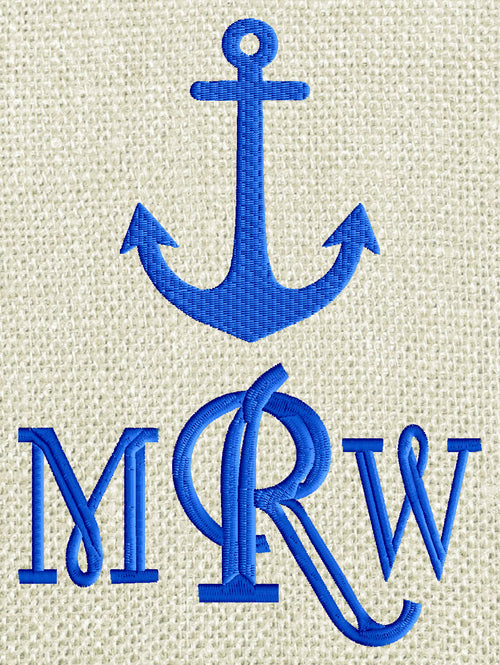 Nautical Anchor Embroidery Design - Font not included - EMBROIDERY DESIGN FILE - Instant download - 2 sizes - Dst Hus Jef Pes Vp3 Exp Xxx formats