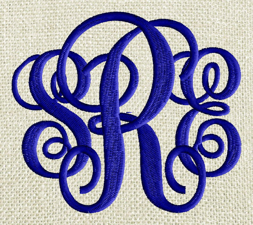 Large 4 inch tall Scripty Monogram Font Embroidery File - 26 Letters - EMBROIDERY DESIGN FILE Instant download Dst Exp Vp3 Pes format