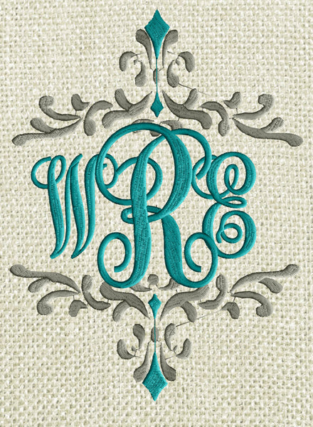 scripty monogram font embroidery file - 26 letters