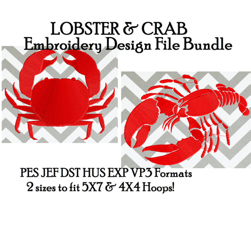 Lobster & Crab BUNDLE Silhouette - Embroidery Design Embroidery DESIGN FILE  - Instant download - Dst Hus Jef Pes Exp Vp3 formats