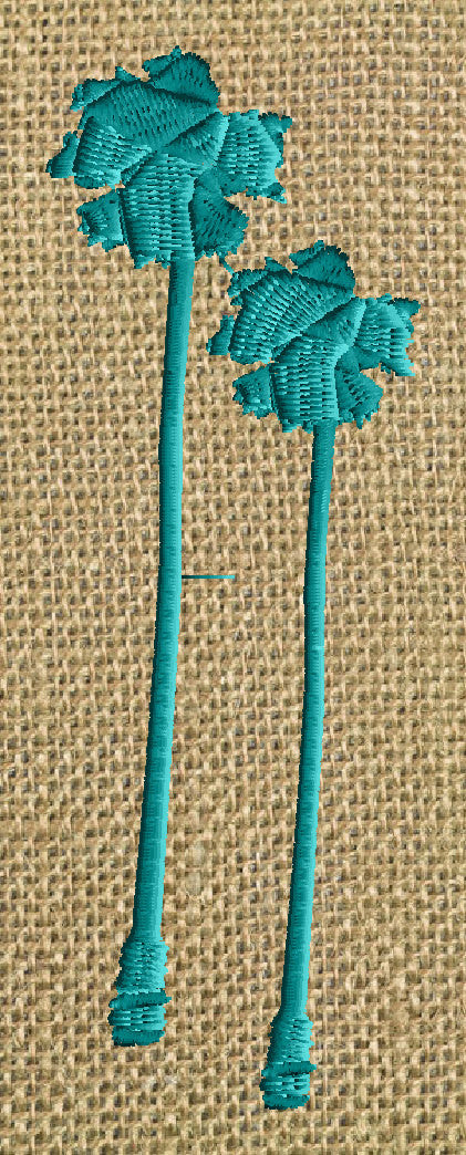 Palm Tree Pair EMBROIDERY DESIGN FILE - Instant download - Summer Beach Island Design element - Dst Hus Jef Pes Exp Vp3 formats