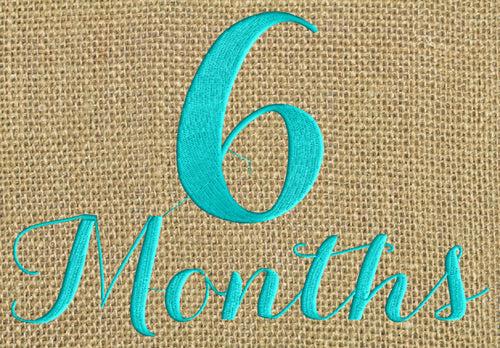 "Baby ""6 months"" Design - EMBROIDERY DESIGN FILE - Photo op - Instant download - Dst Hus Jef Pes Exp Vp3 formats"