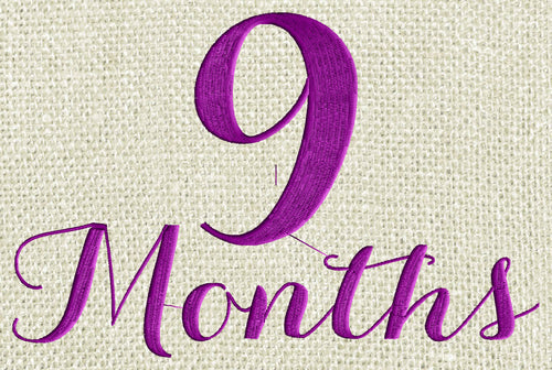 "Baby ""9 months"" Design - EMBROIDERY DESIGN FILE - Photo op - Instant download - Dst Hus Jef Pes Exp Vp3 formats"