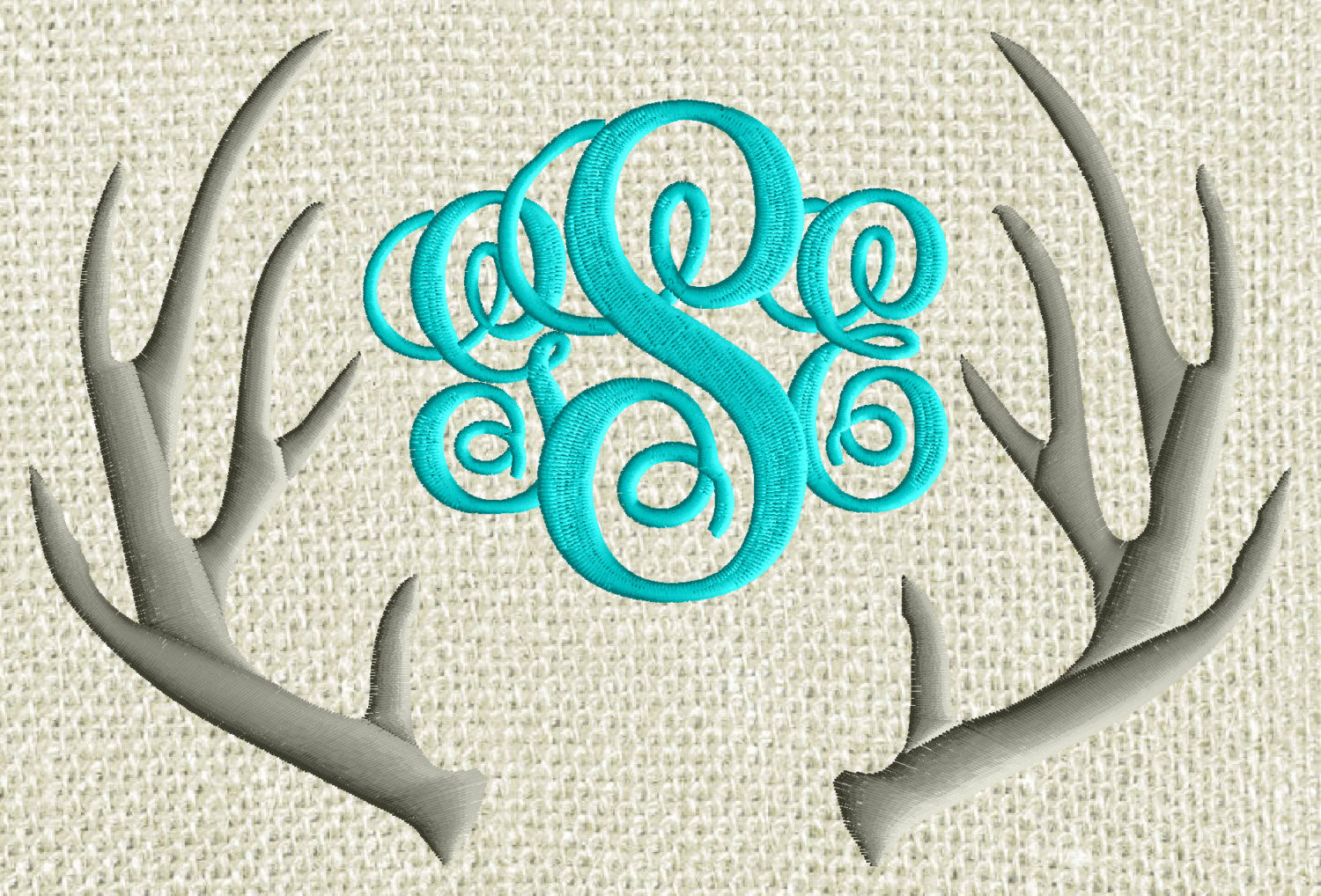 A Antlers Font Frame Monogram -Font not included - EMBROIDERY DESIGN - Instant download