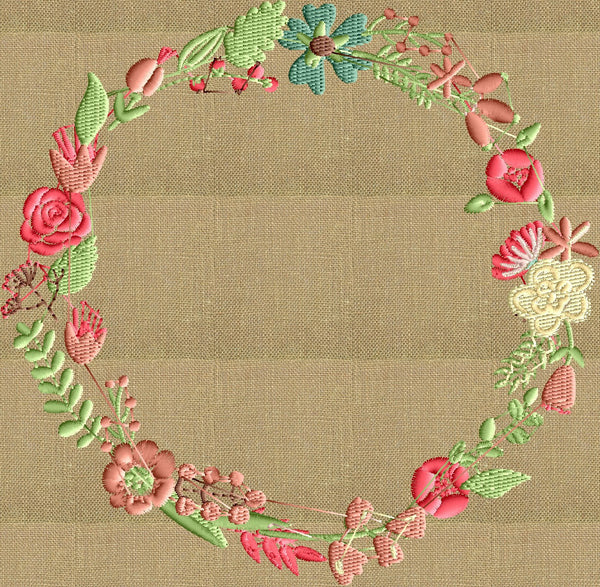 floral font frame monogram embroidery design - font not included