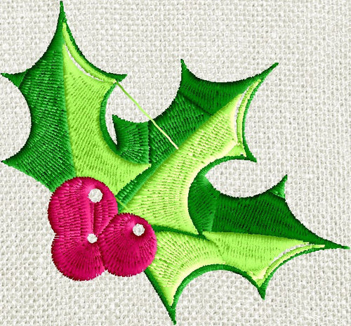 Holly Sprig - EMBROIDERY DESIGN FILE- Instant download - Exp Jef Vp3 Pes Dst formats 5x7 hoops or larger only
