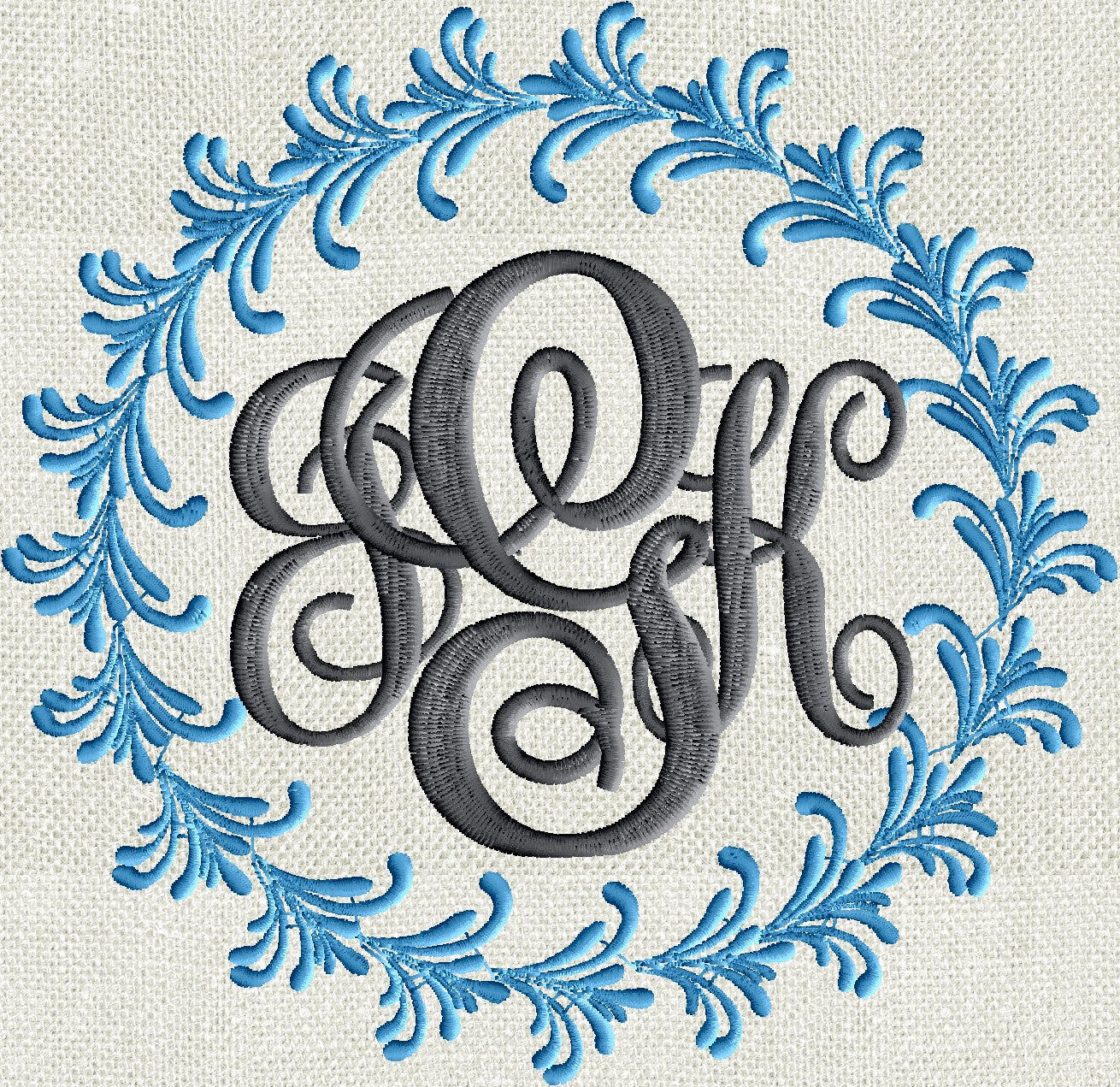 Feather Font Frame Monogram Embroidery Design - Font not included ...