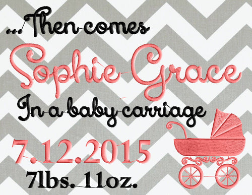 Baby Carriage Birth anouncement Font Frame Monogram - Font not included - EMBROIDERY DESIGN FILE