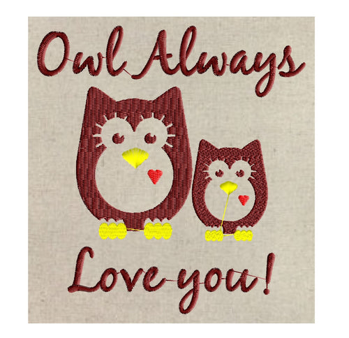 Owl Always Love You Design quote - Owl Love - Heart - EMBROIDERY DESIGN FILE - Instant download - animals