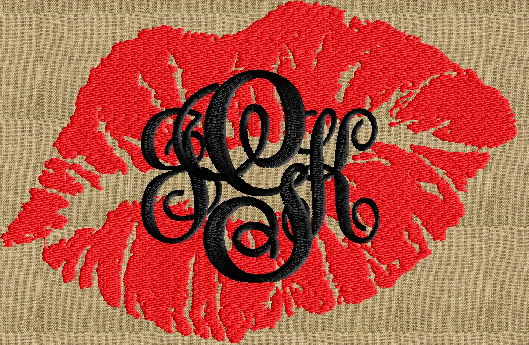 Lips Kiss Font Frame Monogram Embroidery Design - Font not included - Instant download - Hus Dst Exp Vp3 Jef Pes formats - Lip Print