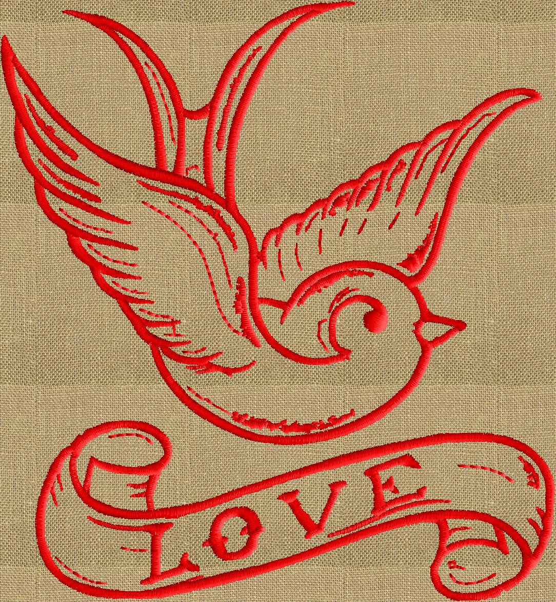 LoveBird Valentines Day themed w Love Banner w quote - EMBROIDERY DESIGN FILE- Instant download - animals