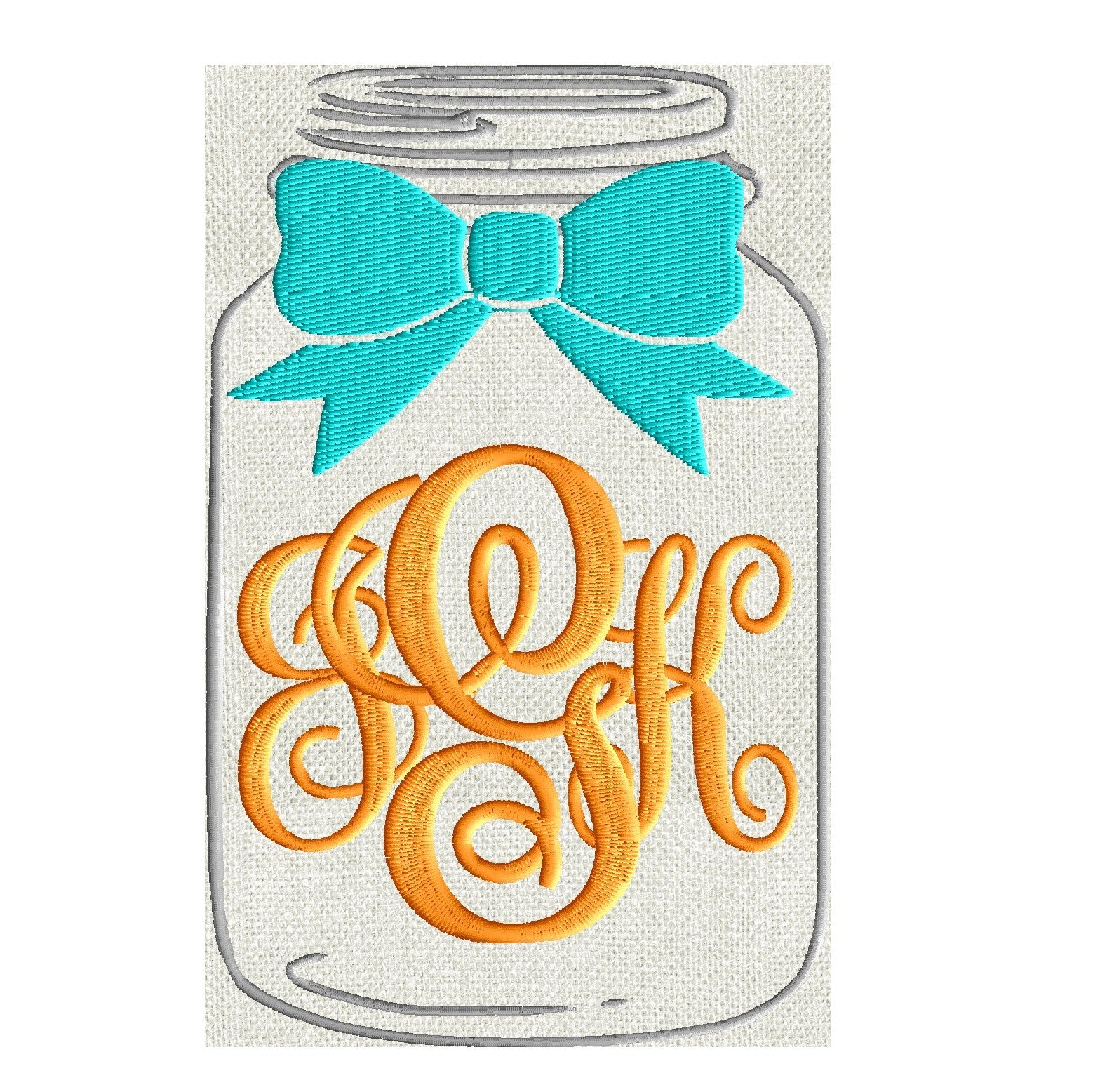 Mason Jar & Bow Frame Monogram -Font not included - EMBROIDERY DESIGN - Instant download 2 sizes Vp3 Hus Dst Exp Jef Pes file formats