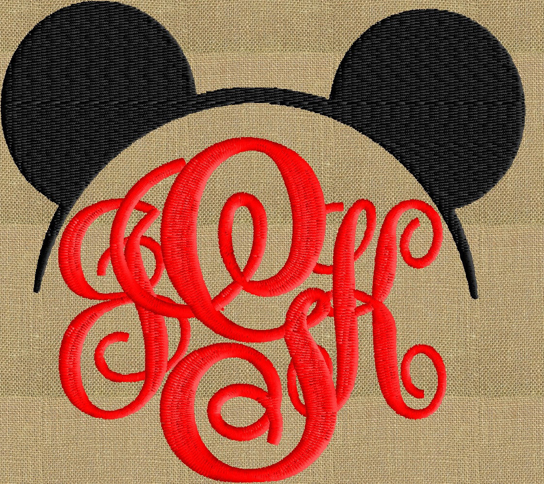 Mickey Font Frame Monogram Embroidery Design - Font not included - LARGER FRAMES ONLY - Instant download - Dst Exp Vp3 Jef Pes