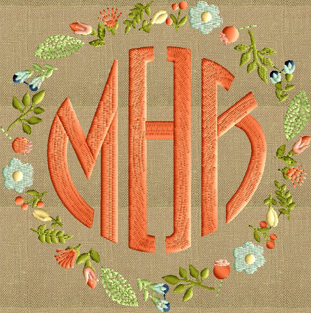 Floral Font Frame Monogram Embroidery Design - Font not included - Instant download - Hus Dst Exp Vp3 Jef Pes formats - 2 sizes 7 colors