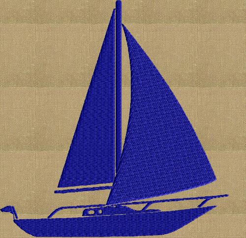 Retro Sailboat Yacht Design - Travel beach Sea Ocean theamed - EMBROIDERY DESIGN FILE - Instant download - Dst Hus Jef Pes Exp formats