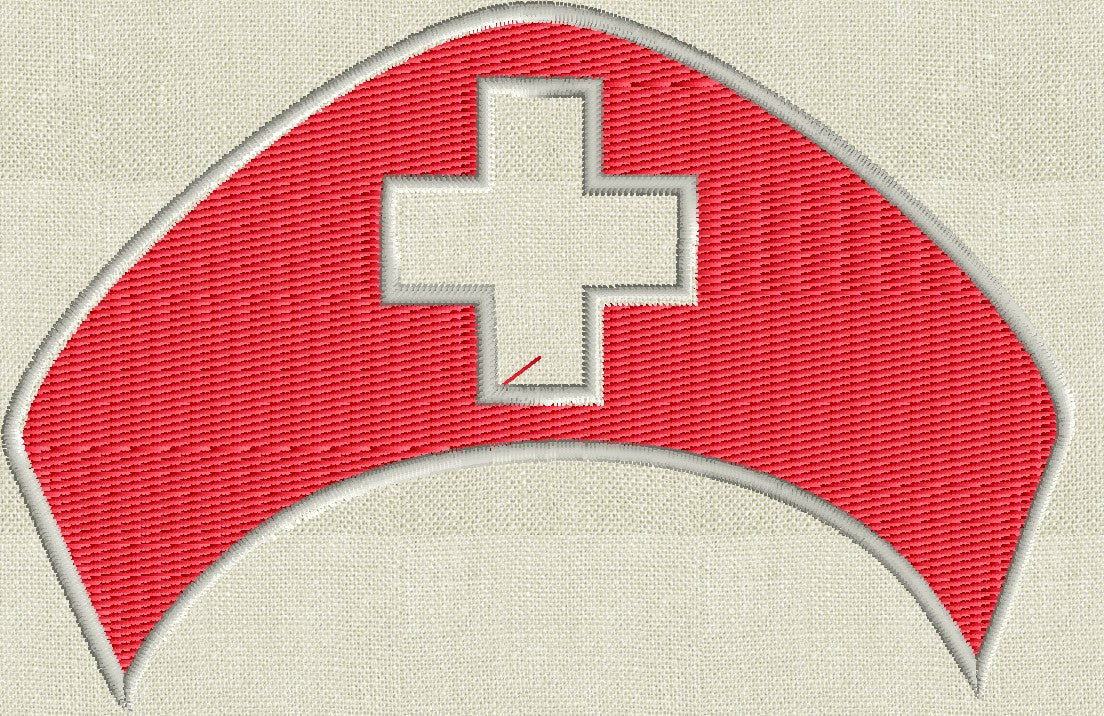 Nurse Hat Font Frame Monogram Design - EMBROIDERY DESIGN FILE