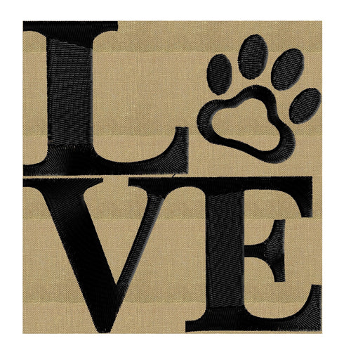 Love - Paw Print - EMBROIDERY DESIGN FILE - Instant download animals