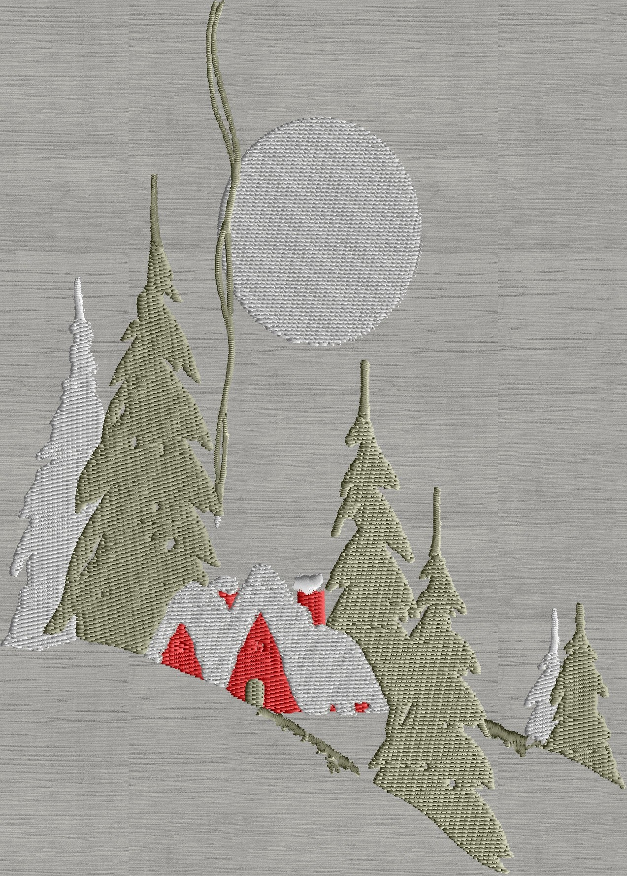 Christmas Village snow scene House Moon EMBROIDERY DESIGN FILE Instant download 5x7 frame or larger - Hus Exp Xp3 Dst Jef Pes formats
