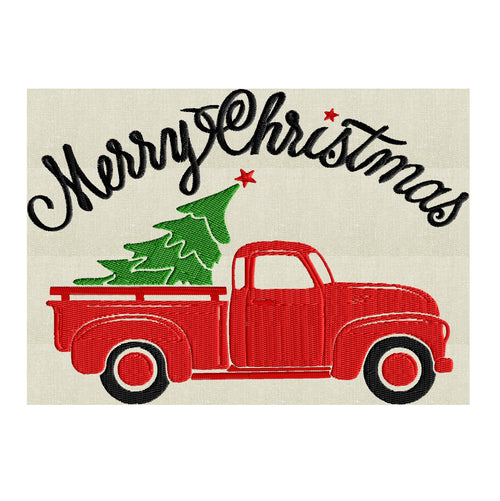 "Retro Pickup truck with Christmas Tree ""Merry Christmas"" - EMBROIDERY DESIGN file - Instant download - Hus Exp Jef Vp3 Pes Dst - 2 sizes"