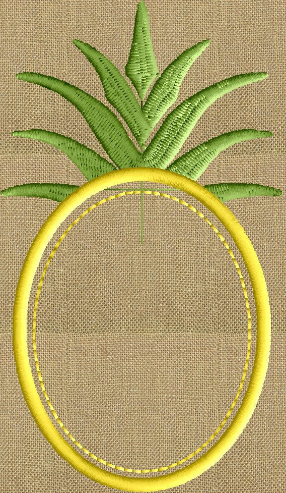 Pineapple Frame Design - Welcome - Heart and home - EMBROIDERY DESIGN FILE - Instant download - Dst Hus Jef Pes Exp formats