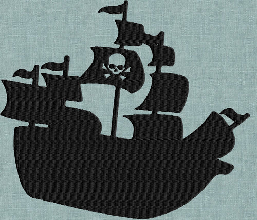 PIRATE SHIP Embroidery Design - EMBROIDERY Design FILE - Instant download - fun stuff
