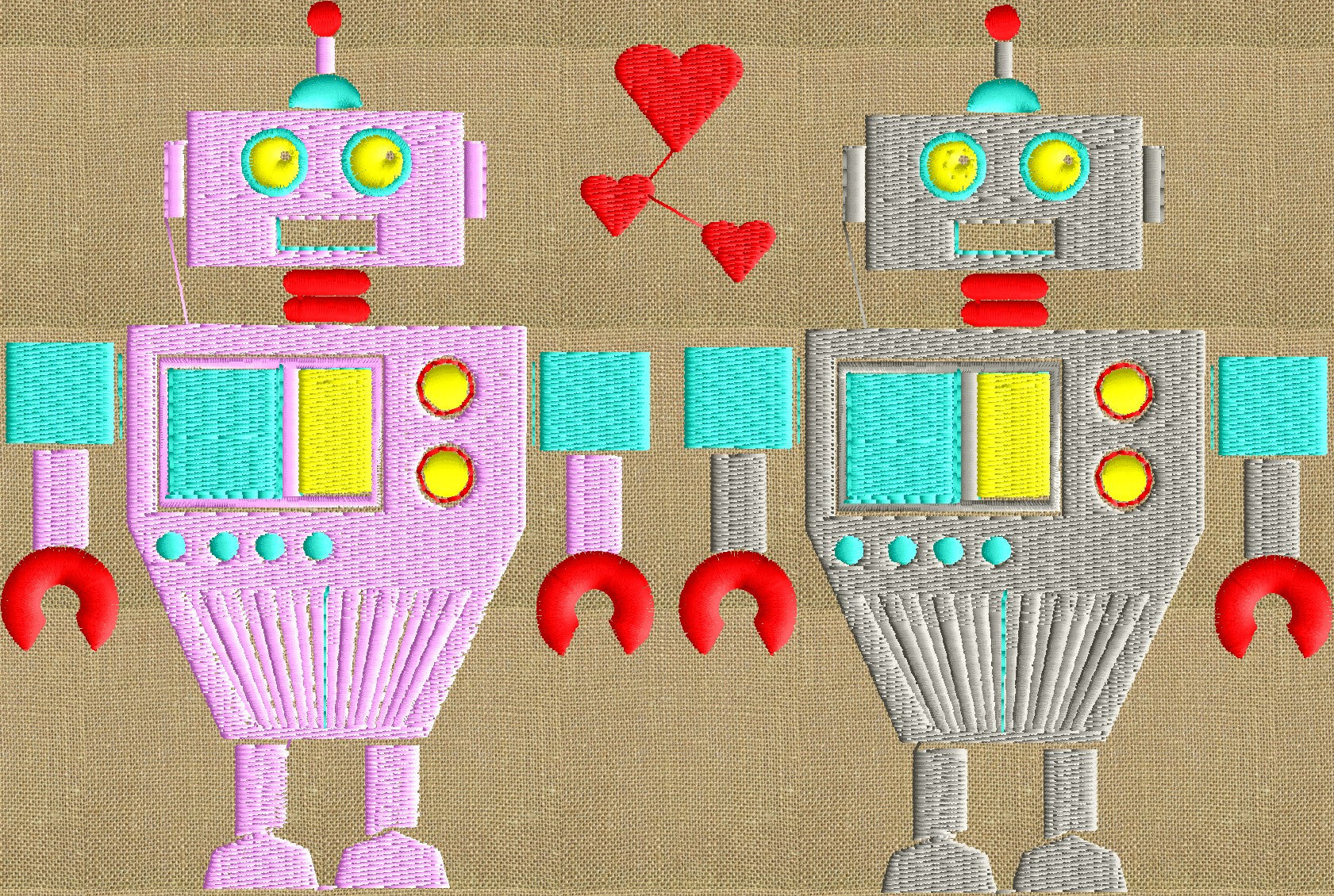 Robot Love - Valentines Day themed - EMBROIDERY DESIGN FILE- Instant download - Exp Jef Vp3 Pes Dst formats - 5x7 hoops and larger