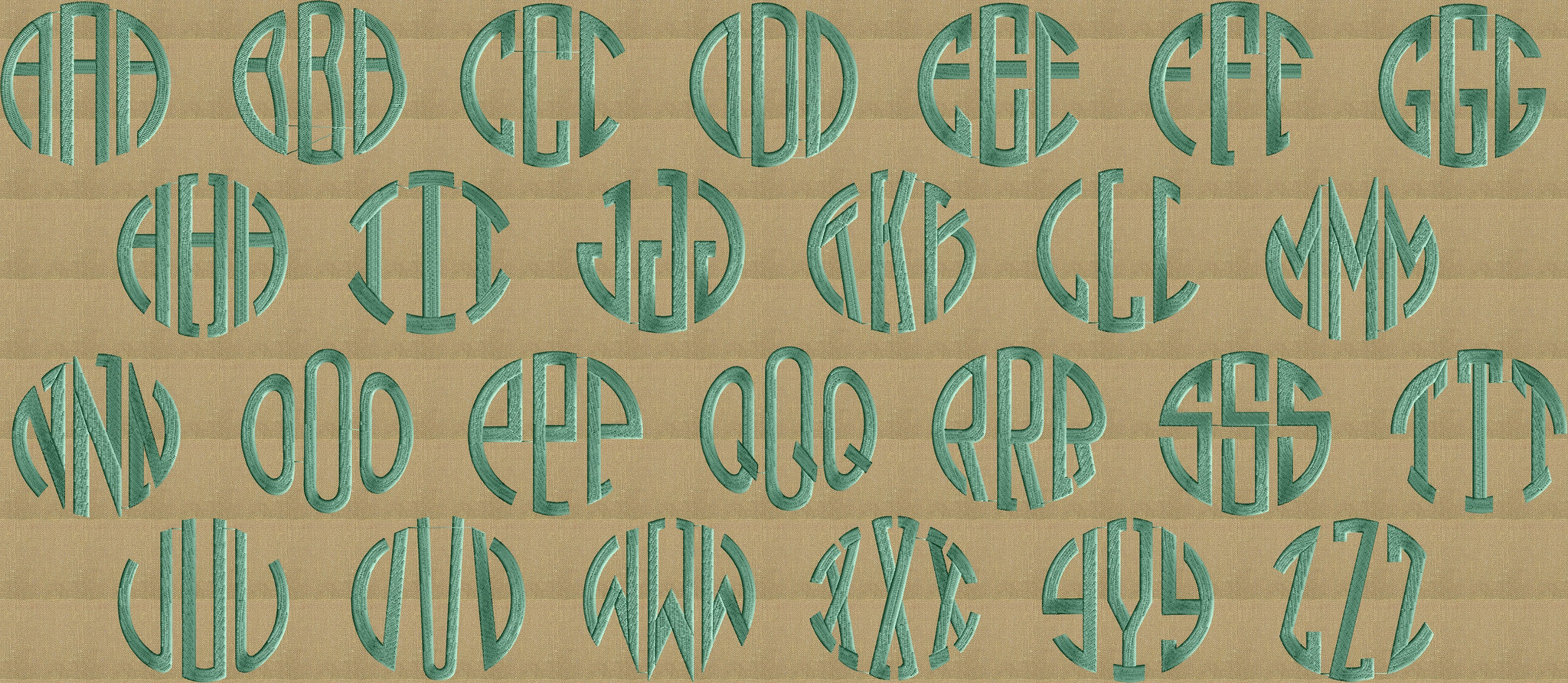 Round Block Monogram Font Embroidery File - 26 Letters -2.75 inches tall EMBROIDERY DESIGN FILE Instant download Dst Hus Jef Pes Exp Vp3 format