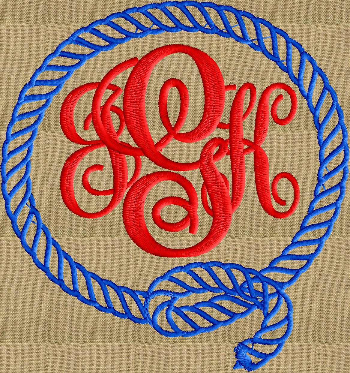 Rope Round Font Frame Monogram Embroidery Design - Font not included - in 2 sizes - Instant download - Hus Dst Exp Vp3 Jef Pes formats