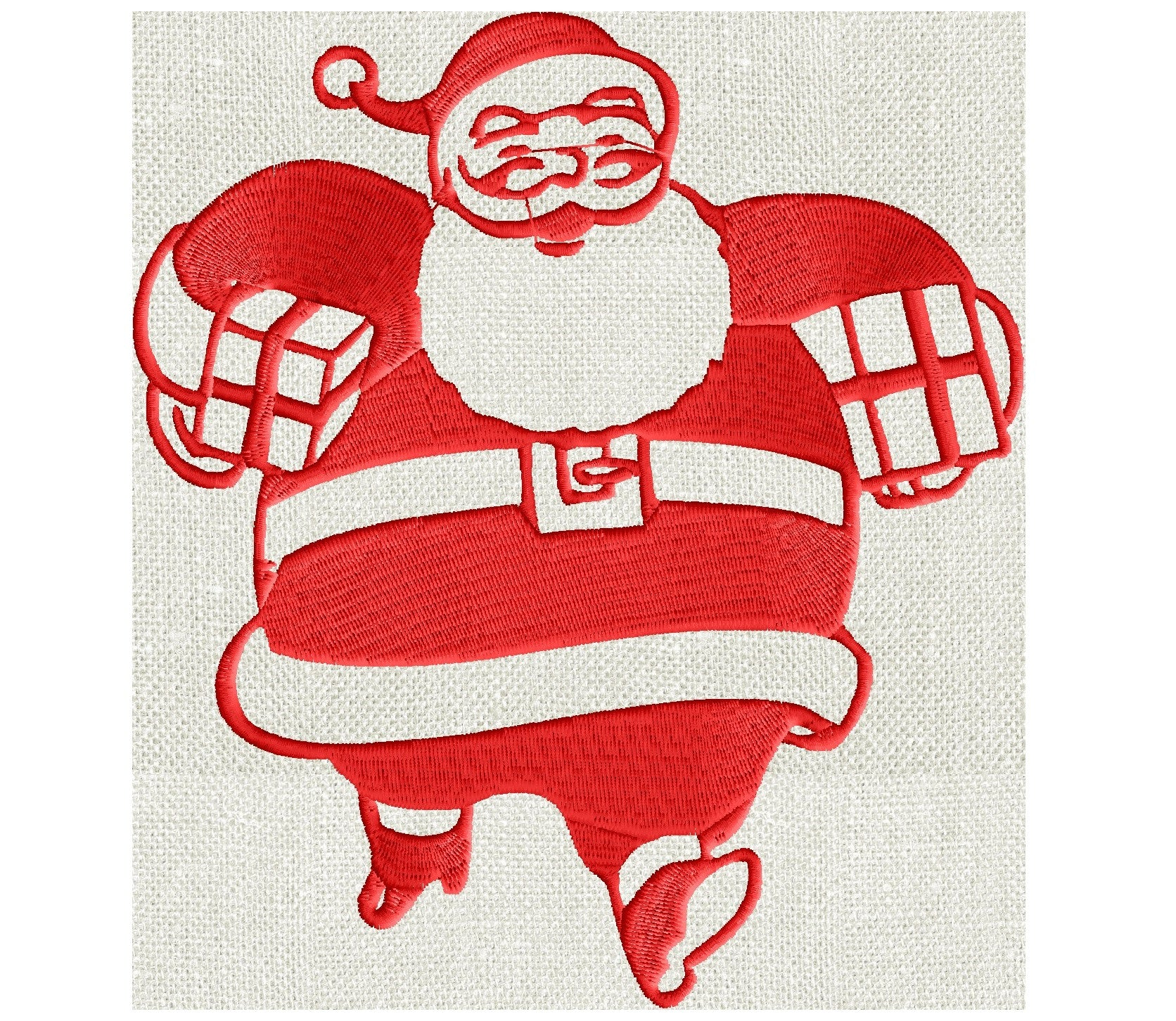 Santa Clause Christmas - retro vintage - EMBROIDERY DESIGN FILE- Instant download - Hus Exp Jef Vp3 Pes Dst - 2 sizes - 5x7 or 4x4 hoops