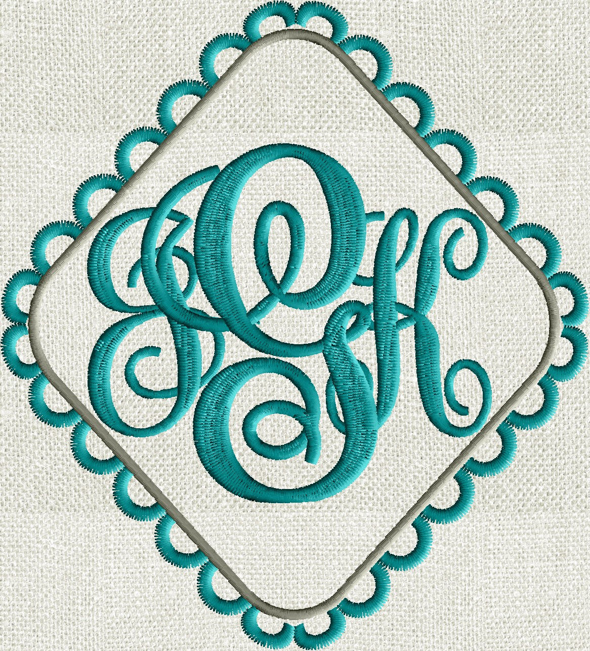 Scalloped Diamond Font Frame Monogram Embroidery Design - Font not included - EMBROIDERY DESIGN FILE - Instant download - Dst Hus Jef Pes Exp Vp3formats