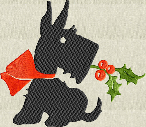A Christmas Scottish Terrier Scottie dog - Embroidery DESIGN FILE animals