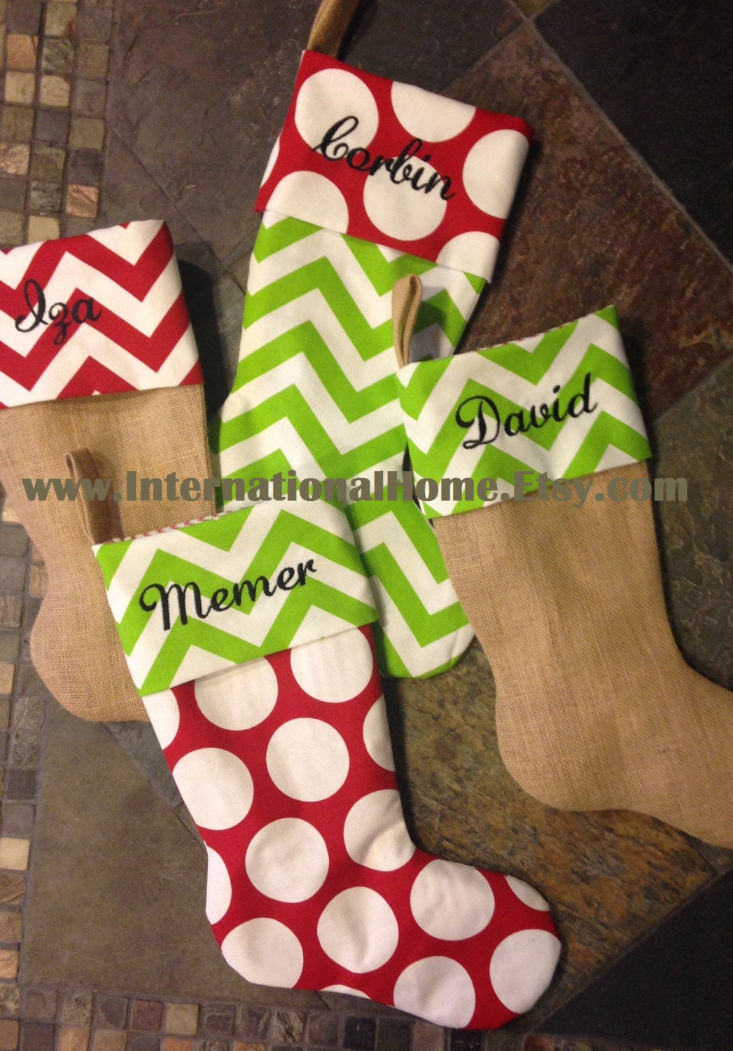 Set of 6 Custom made Christmas Stockings w/ FREE SHIPPING!