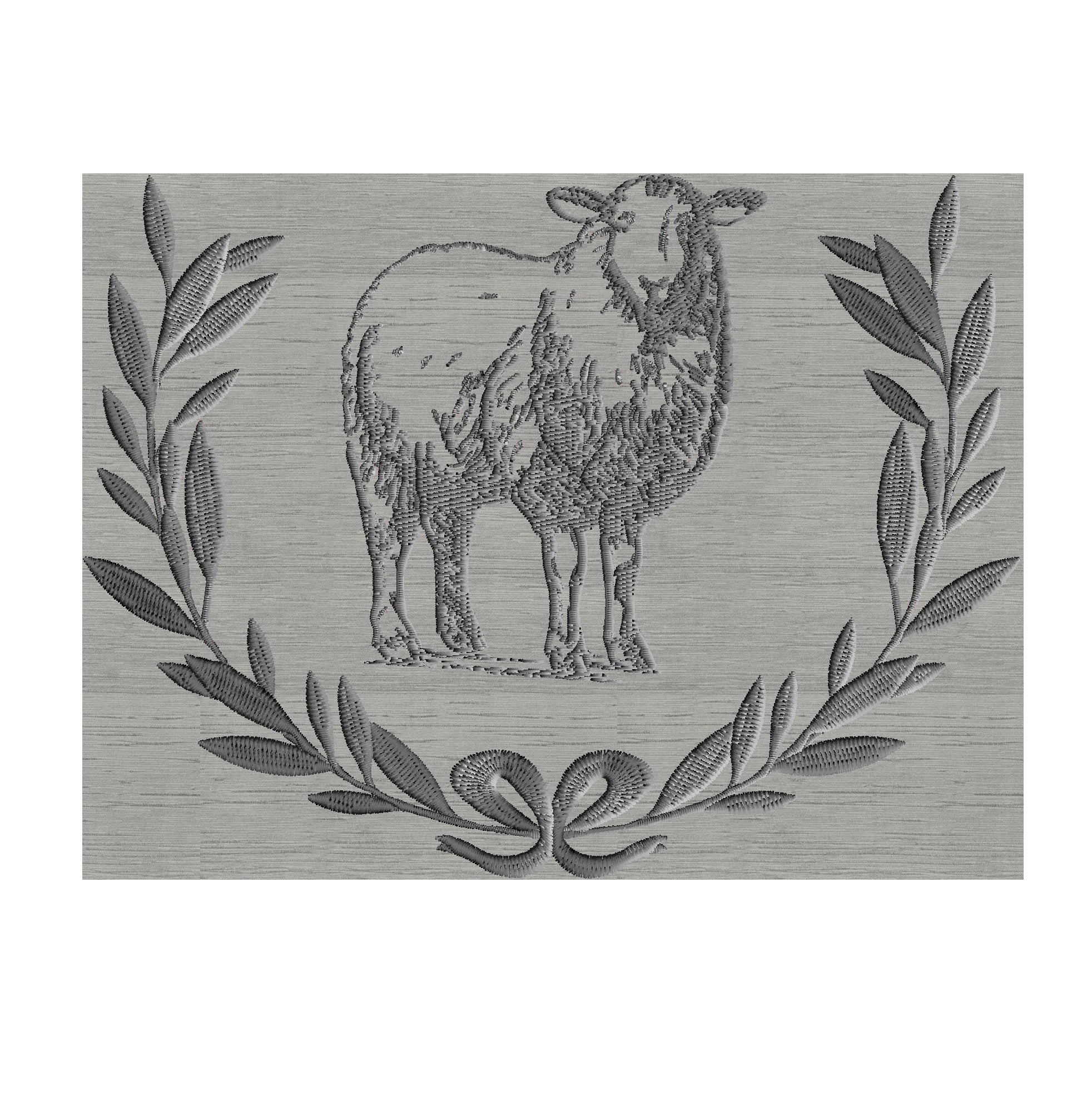 Sheep Lamb with Laurel wreath - Embroidery DESIGN FILE  Instant download 2 sizes & colors Hus Dst Jef Pes Exp Vp3 Easter Passover sheep lamb