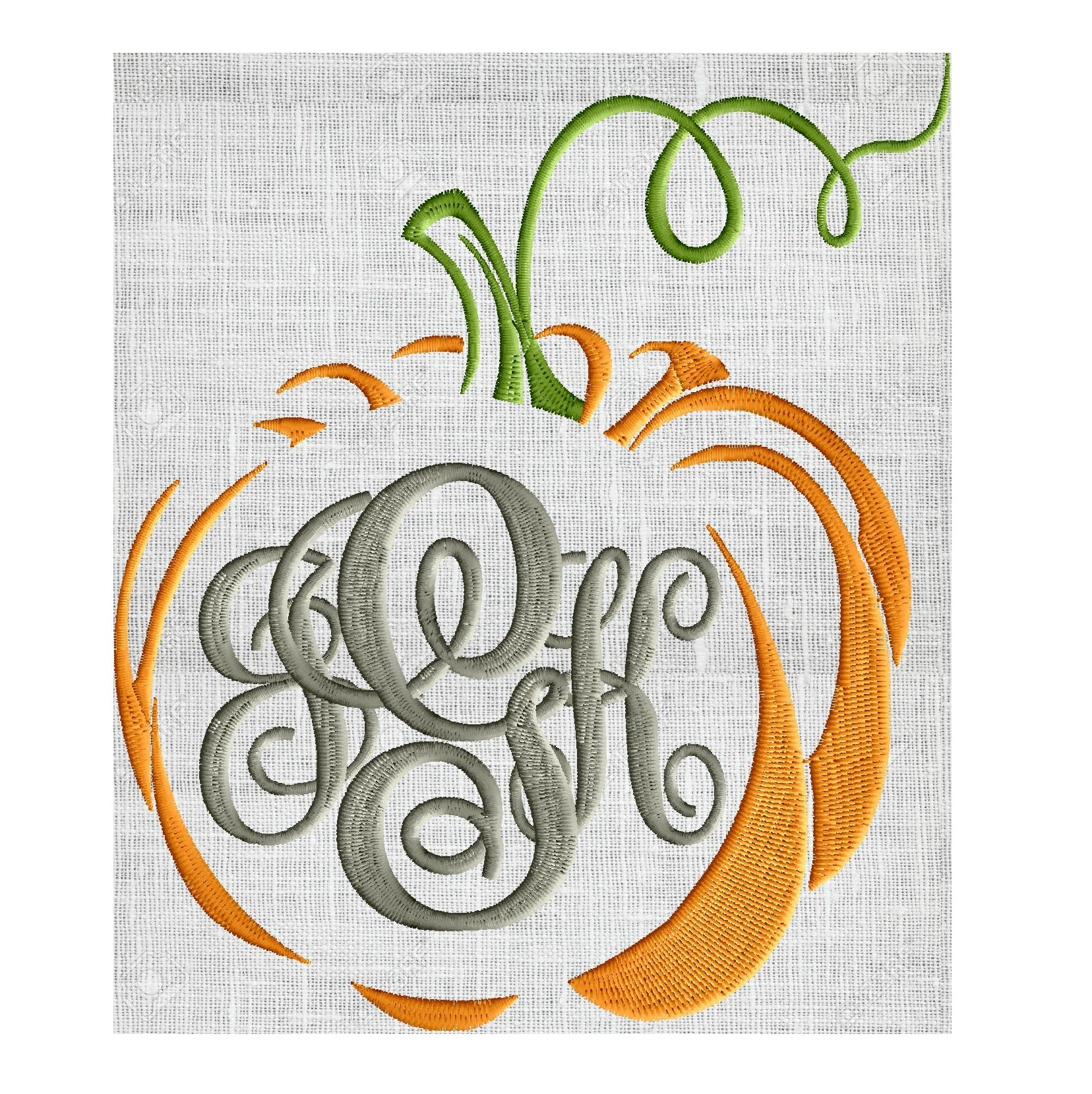 Pumpkin Font Frame - Font not included - EMBROIDERY DESIGN FILE - Instant download Vp3 Hus Dst Exp Jef Pes formats