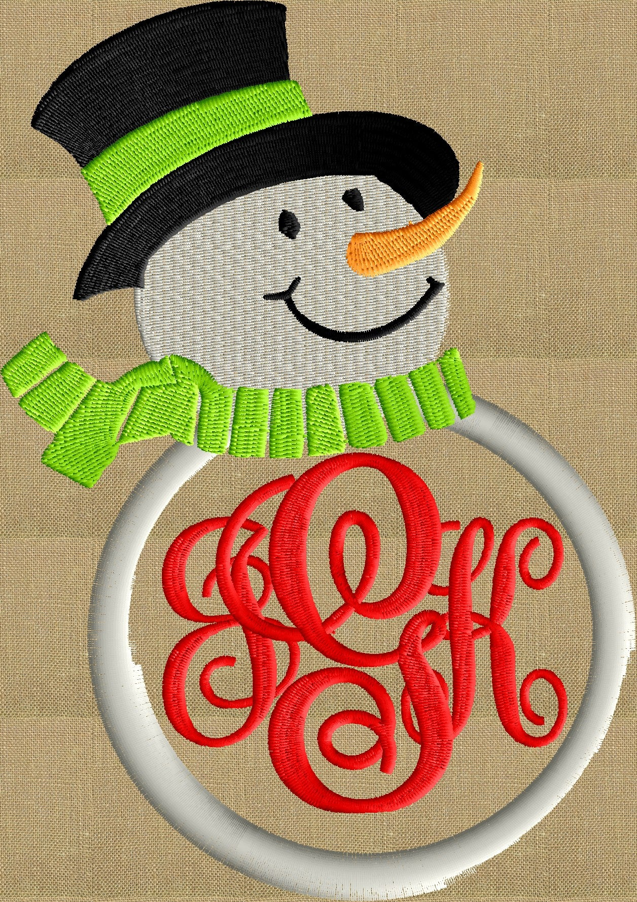 Snowman Font Frame Monogram Embroidery Design File