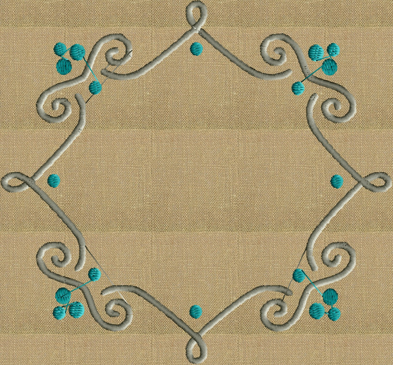 squiggle Scroll Font Frame Monogram Design EMBROIDERY DESIGN FILE