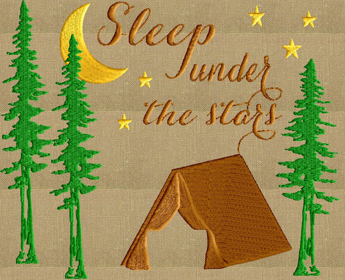 "Camping Tent Quote ""Sleep under the stars"" outdoors - Embroidery Design File"