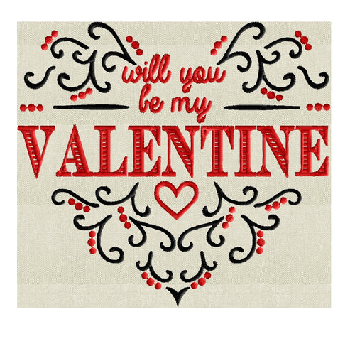 "Will you be my VALENTINE"" quote Scroll Heart Design - EMBROIDERY DESIGN FILE - Instant download - Dst Hus Jef Pes formats"