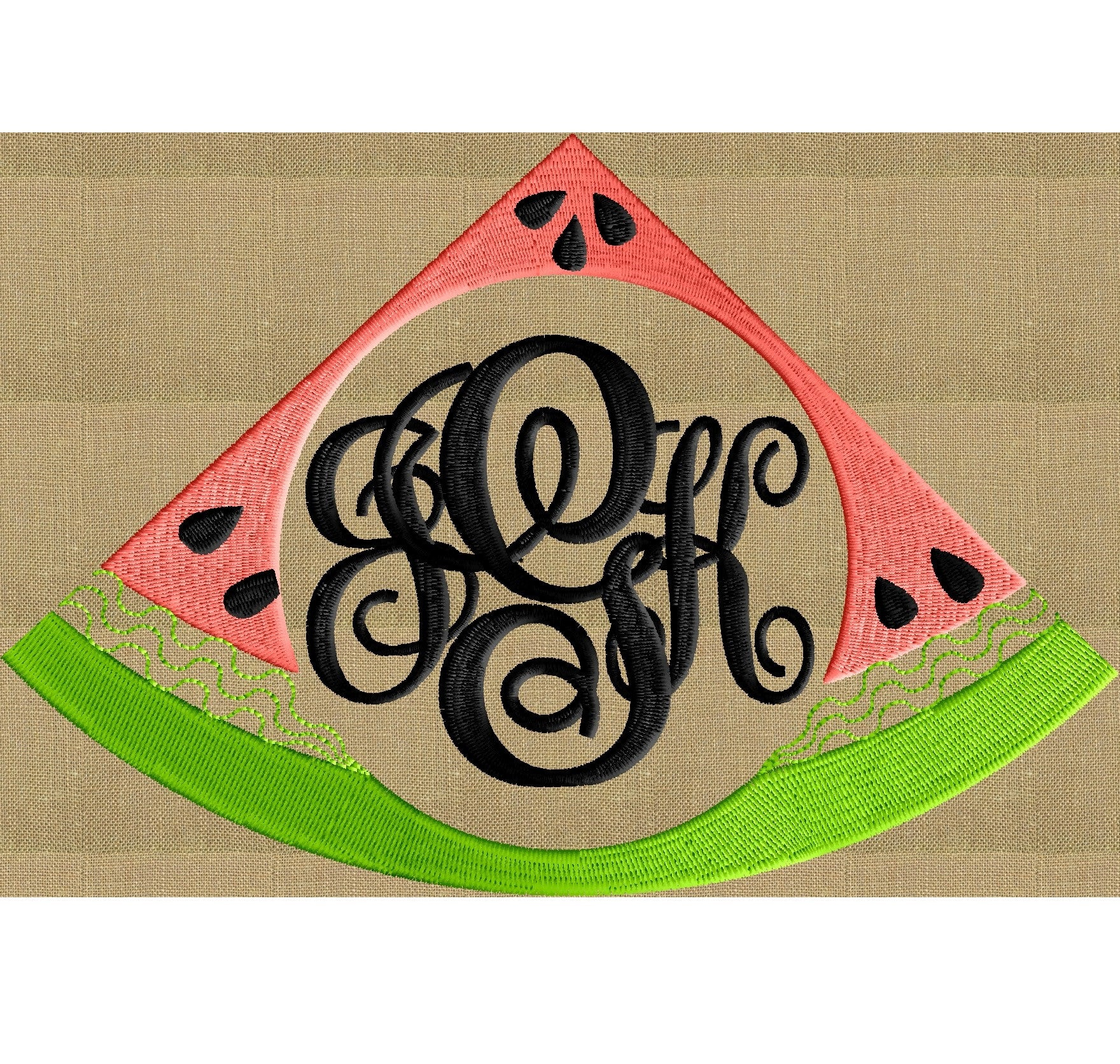 Watermelon Frame Design Fruit EMBROIDERY DESIGN FILE