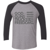 God, Guns, Trucks & Freedom Tri-Blend 3/4 Sleeve Raglan T-Shirt