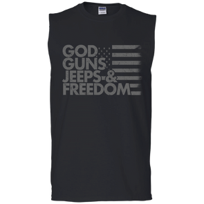 God, Guns, Jeeps & Freedom Cotton Sleeveless T-Shirt