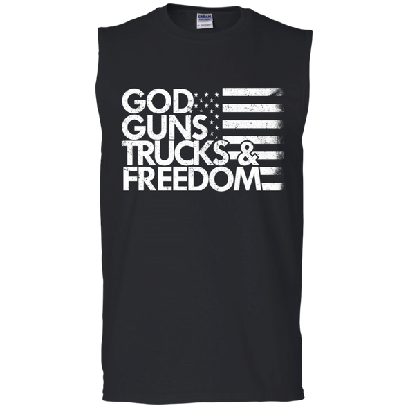 God, Guns, Trucks & Freedom Cotton Sleeveless T-Shirt
