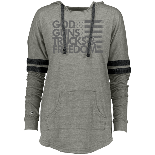 God, Guns, Trucks & Freedom Ladies Hooded Low Key Pullover