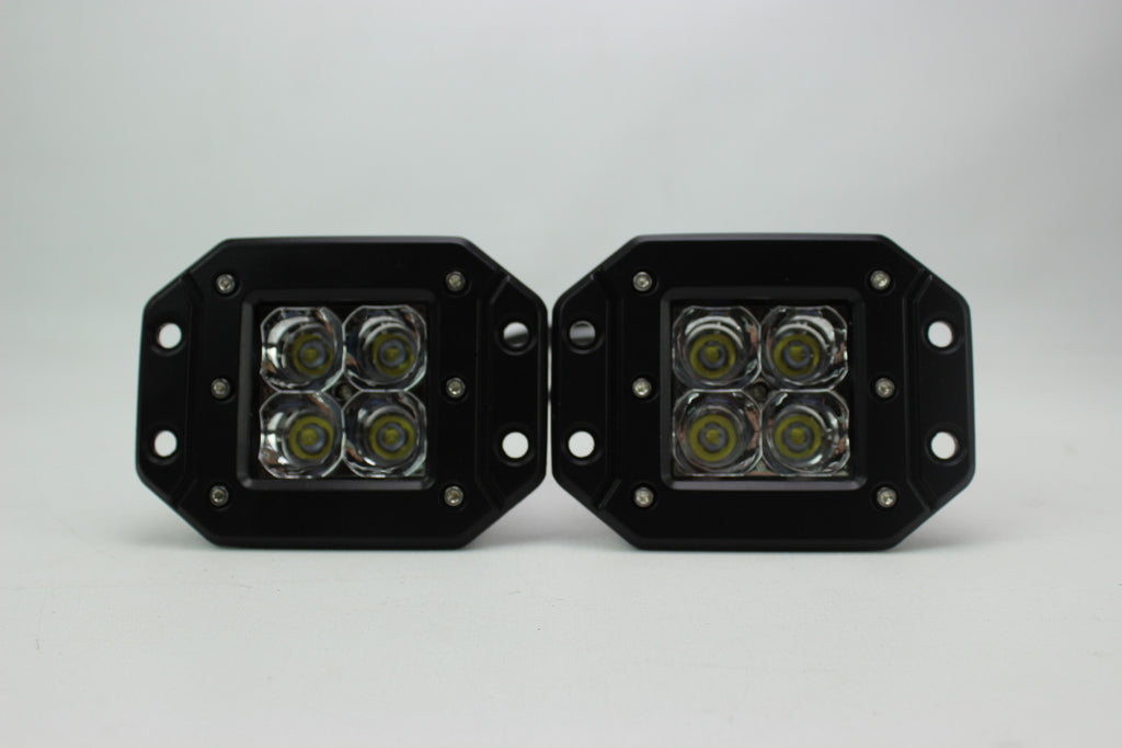 Flush Mount LED POD work lights Pair AVW Offroad and Performance