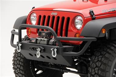 "Smittybilt SRC Front Grille Guard Bumper with D-ring Mounts in Textured Black Powder Coat + FREE 13"" LED Lightbar"