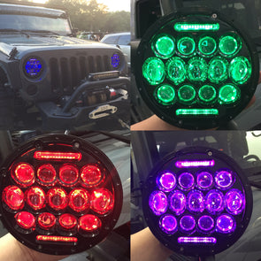 "7"" Jeep Headlights with color changing optical projectors"