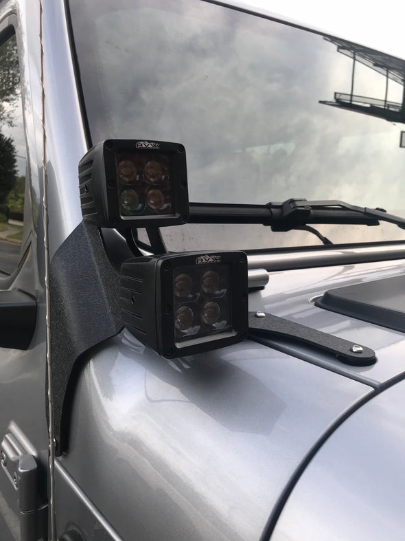 Dual RGB Pod cube lights with JL windshield brackets & wiring harnesses